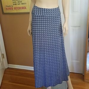 Navy and White Maxi Skirt A-Line Small-Medium
